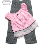 Girl size 3, formal outfit, pink satin top, pinstripe pants, pink toddler top